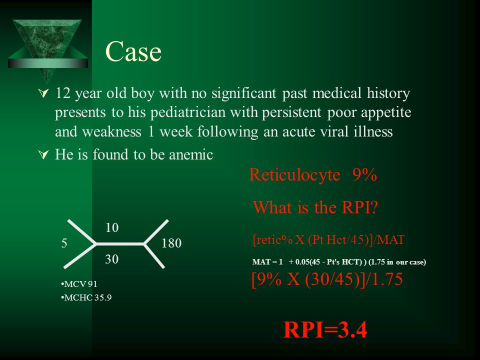 Case RPI=3.4 Reticulocyte 9% What is the RPI [9% X (30/45)]/1.75